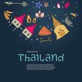 Symbols of Thailand. Hand drawn design concept with the main att Stock Photos