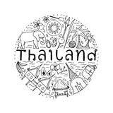 Symbols of Thailand. Hand drawn design concept with the main att Royalty Free Stock Images