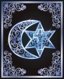 Symbols of the three religions - Judaism, Christianity, Islam Stock Images