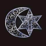 Symbols of the three world religions - Judaism, Christianity, Islam Stock Photos