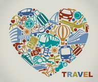 Symbols of tourism and travel in the form of heart Stock Photos