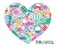 Symbols of tourism and travel in the form of heart Royalty Free Stock Photo