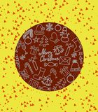 Symbols of traditional christmas attributes on round yellow background 3D illustration. Copy space. Many images of snowman, hat of Santa, a present, a candle stock photo