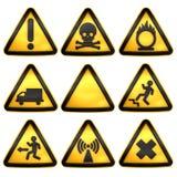 Symbols triangular warning hazard Stock Image