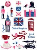 Symbols of UK set in lino style Stock Photography