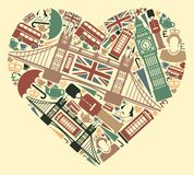 The symbols of the UK in the shape of a heart Stock Images