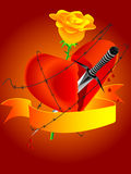 Symbols of unfortunate love. Dagger, heart and rose symbols of unfortunate love - a background in a Royalty Free Stock Photos