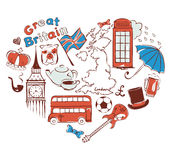 Symbols of united kingdom in the form of heart Royalty Free Stock Photography