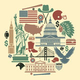 Symbols of the USA in the form of a circle Stock Images