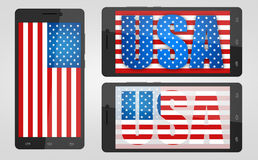 Symbols USA, in the phone. Royalty Free Stock Photography