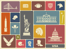 Symbols of the USA. Traditional symbols of architecture and culture of the USA Stock Photography