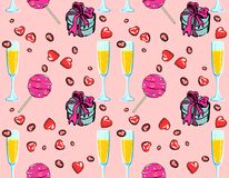 Symbols of Valentine`s Day Pattern. Hand-drawn seamless pattern with wine glasses, sweets,  gift boxes on a pink background. Stylish design for decor, textile Stock Images