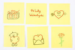 Symbols of Valentines Day drawn on paper, polish inscription 14 February Valentines, symbol of love Stock Images