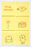 Symbols of Valentines Day drawn on paper, polish inscription 14 February Valentines, symbol of love Stock Photography