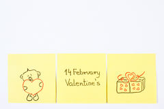 Symbols of Valentines Day drawn on paper, symbol of love, copy space for text Stock Images