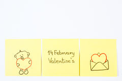 Symbols of Valentines Day drawn on paper, symbol of love, copy space for text Stock Photography