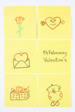 Symbols of Valentines Day drawn on paper, symbol of love Stock Image