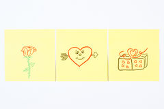 Symbols of Valentines Day drawn on paper, symbol of love Royalty Free Stock Photography