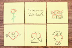 Symbols of Valentines Day drawn on paper, symbol of love Royalty Free Stock Photos