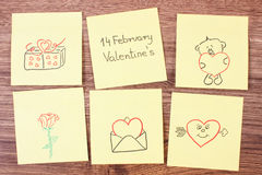 Symbols of Valentines Day drawn on paper, symbol of love Royalty Free Stock Photo