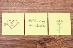 Symbols of Valentines Day drawn on paper, symbol of love Royalty Free Stock Image