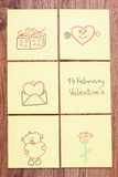 Symbols of Valentines Day drawn on paper, symbol of love Stock Photography