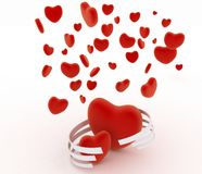 Symbols of valentines day.  Hearts on  white Royalty Free Stock Image
