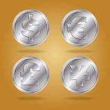 Symbols of various currencies. vector illustration
