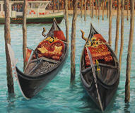 The Symbols of Venice. An oil painting on canvas of Two Venetian Gondolas, famous boats waiting for tourists near the popular Rialto Bridge on Grand canal in Royalty Free Stock Photos