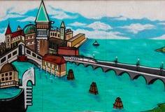 Symbols of Venice - Italy - Grafito on Public Wall, Street Art G Royalty Free Stock Images