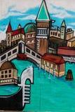 Symbols of Venice - Italy - Grafito on Public Wall, Street Art G Stock Photo