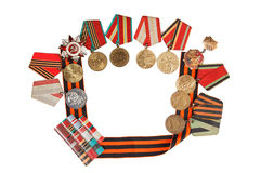 Symbols of Victory medal and St. George's Ribbon isolated on a white background.  illustrative editorial. Composition of Victory Day.  medal and St. George's Stock Photos
