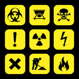 Symbols warning hazard icons set great for any use. Vector EPS10. Royalty Free Stock Photos