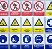 Symbols warning signs construction site Royalty Free Stock Photo
