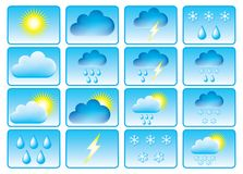 Symbols for weather. Symbols for the indication of weather. Vector illustration Royalty Free Stock Photos