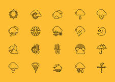 Symbols weather Set of Black Outline Icons Stock Photography