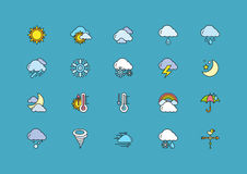 Symbols weather Set of Colorful Outline Icons Stock Photography
