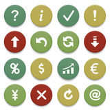 Symbols for web on color buttons. Stock Images