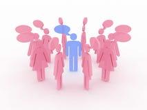 Symbols of women around the men talking. 3D Royalty Free Stock Image
