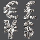 Symbols of world currencies.Polygonal. Royalty Free Stock Image