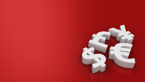 World currencies on the red Royalty Free Stock Photo