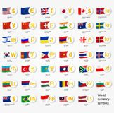 Symbols world money with national county flags. Vector currency exchange icons collection. Vector illustration Royalty Free Stock Photography