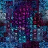 Symbols of zodiac on grunge ethnic background Royalty Free Stock Photos