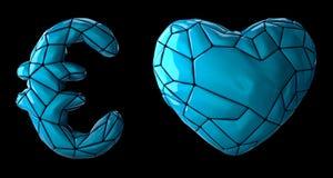 Symbolsamlingseuro och hjärta som göras av blå plast- Samlingssymboler av lågt isolerat poly plast- för stilblåttfärg fotografering för bildbyråer