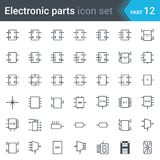 Symbolsatz des elektrischen und der elektronischen Schaltung Schaltplans Digitalelektronik, Flipflop, Koinzidenzschaltung, Anzeig lizenzfreie abbildung