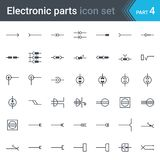 Symbolsatz des elektrischen und der elektronischen Schaltung Schaltplans von elektrischen Verbindungsstücken, von Sockeln, von St lizenzfreie abbildung
