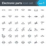 Symbolsatz des elektrischen und der elektronischen Schaltung Schaltplans Widerstände stock abbildung