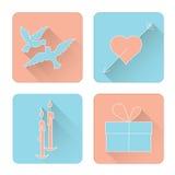 Symbolsatz für Valentinstag im Stil der Ebene Stockbilder