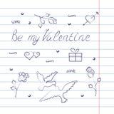 Symbolsatz für Valentinstag mit Übungsbucheffekt Lizenzfreie Stockfotos