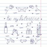 Symbolsatz für Valentinstag mit Übungsbucheffekt Stockbild